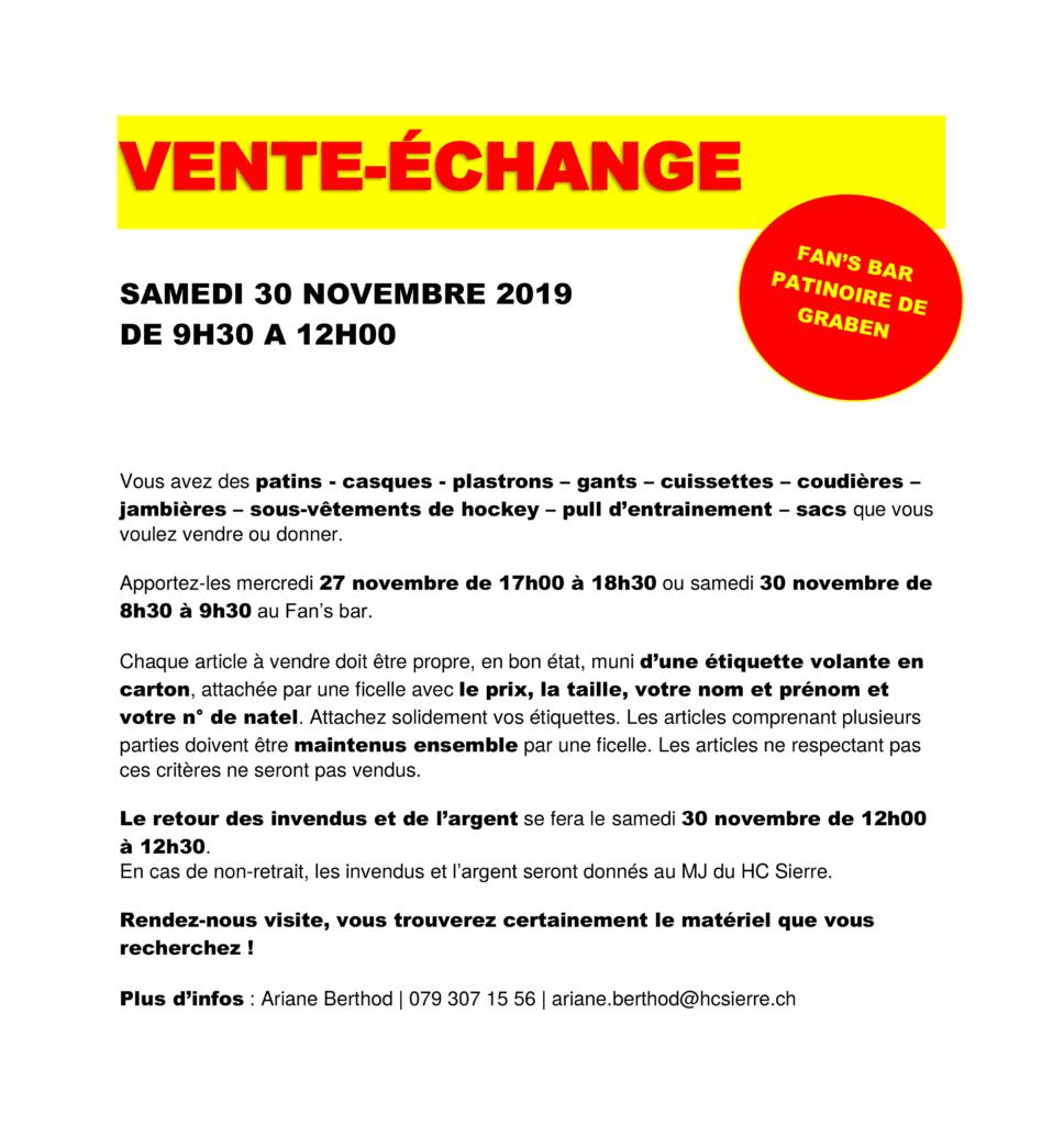 Vente échange du 30.11.2019